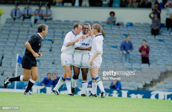 English footballer David Rocastle of Leeds United is congratulated after scoring Leeds' second goal in a Makita Tournament semifinal match against...