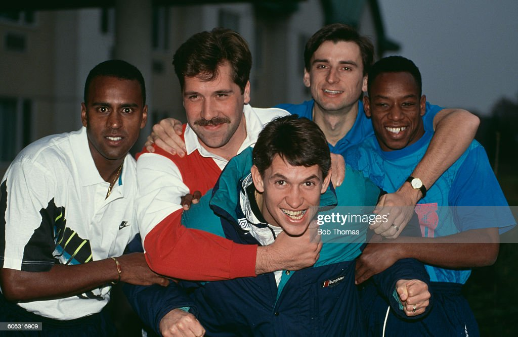 English footballer Gary Lineker (front, centre), of Tottenham Hotspur, is held back by Arsenal players (left to right) David Rocastle (1967 - 2001), David Seaman, Alan Smith and Ian Wright, circa 1991.
