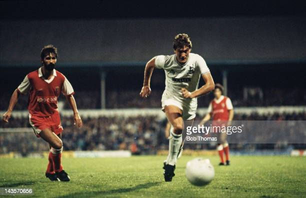 English footballer Glen Hoddle of Tottenham Hotspur in action during a UEFA Cup first round second leg match against SC Braga 3rd October 1984 Spurs...