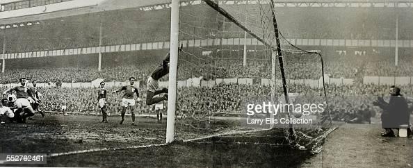 English footballer Jimmy Greaves scoring for Tottenham Hotspur against Blackpool at White Hart Lane London 16th December 1961 Greaves scored a...