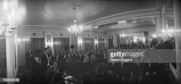 English footballer Jimmy Hill of Fulham FC addresses a meeting of the Professional Footballers' Association in London advocating a strike in support...