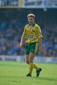 English footballer Mark Robins of Norwich City during an English Premier League match against Coventry City at the Carrow Road stadium Norwich 26th...