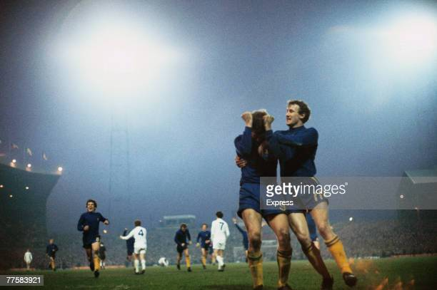 English footballer Peter Osgood of Chelsea FC is congratulated after he headed an equaliser in the FA Cup final replay against Leeds United at Old...