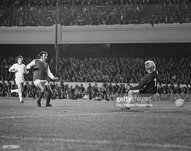 English footballer Ray Kennedy of Arsenal scores England's first goal past goalkeeper Inge Thun of Norwegian team Stromsgodset in the 6th minute of...
