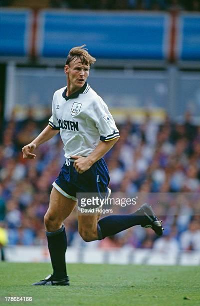 English footballer Teddy Sheringham of Tottenham Hotspur during an English Premier League match against Aston Villa 28th August 1993 Villa won the...