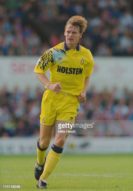 English footballer Teddy Sheringham playing for Tottenham Hotspur in an English Premier League match against Ipswich Town at Portman Road Ipswich...