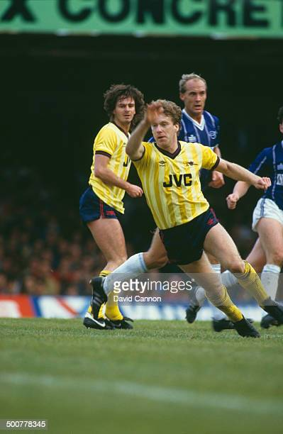 English footballer Tony Woodcock of Arsenal in action during an English Division One match against Leicester City at the Filbert Street stadium...