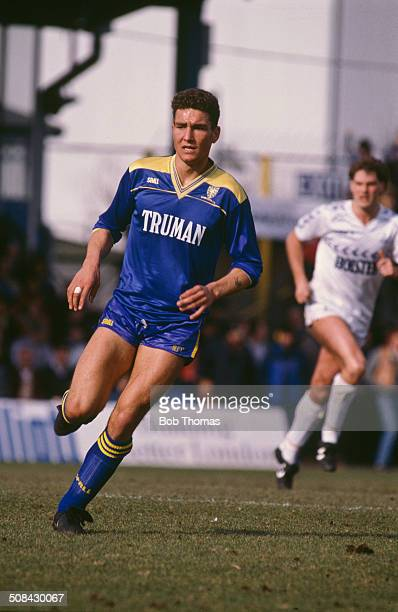 English footballer Vinnie Jones playing for Wimbledon against Tottenham Hotspur in an English FA Cup Sixth Round match at the Plough Lane stadium...