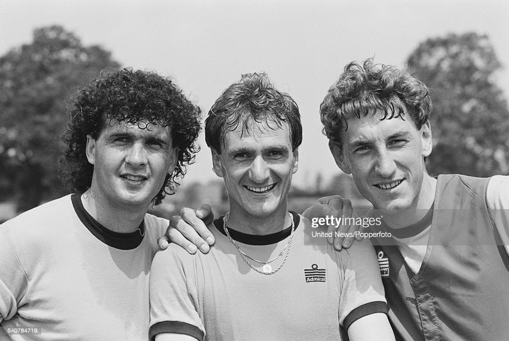 English footballers, Steve Foster, <a gi-track='captionPersonalityLinkClicked' href=/galleries/search?phrase=Phil+Thompson&family=editorial&specificpeople=221560 ng-click='$event.stopPropagation()'>Phil Thompson</a> and <a gi-track='captionPersonalityLinkClicked' href=/galleries/search?phrase=Terry+Butcher&family=editorial&specificpeople=794028 ng-click='$event.stopPropagation()'>Terry Butcher</a> pictured together at the press conference held on 8th June 1982 to announce the England squad for the upcoming World Cup competition in Spain.