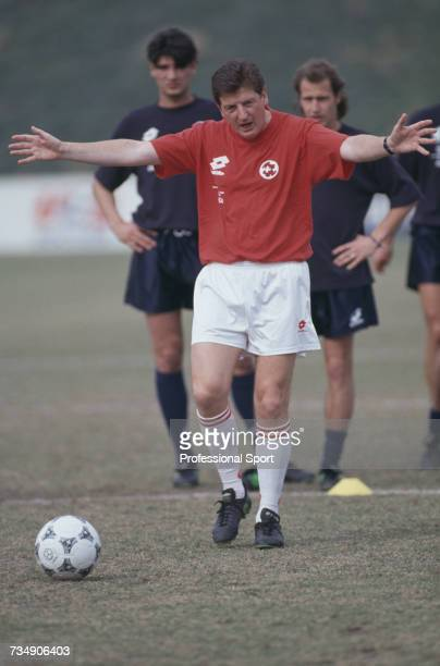 English former footballer and manager of the Switzerland national football team Roy Hodgson pictured during a coaching session with the Swiss side at...