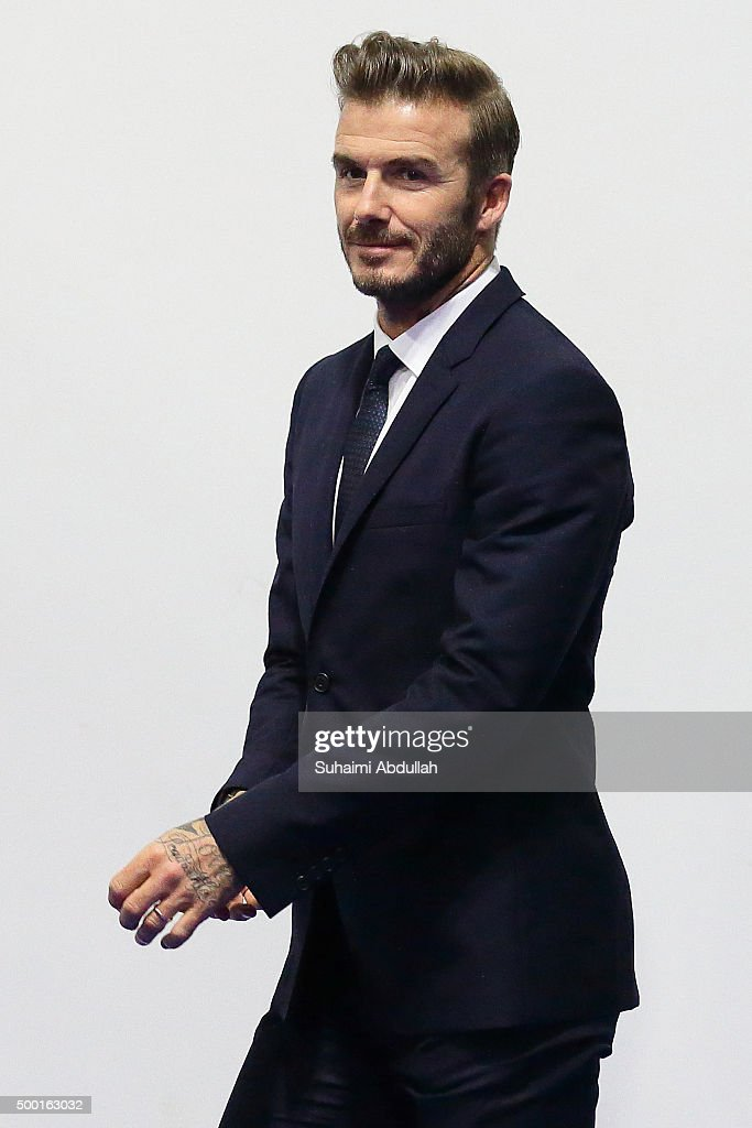 English former professional footballer, David Beckham arrives at the Men's Team Football 5-a-Side match between Singapore and Thailand during the 8th ASEAN Para Games 2015 at the Marina Bay Sands Hall on December 6, 2015 in Singapore.