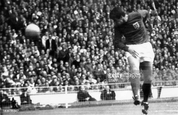 English forward Geoff Hurst scores on a header to tie the score at 1 against West Germany during the World Cup final on July 30 1966 at Wembley...