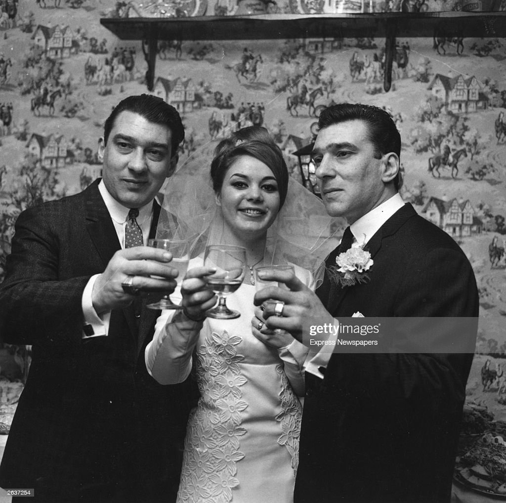 English gangsters Ronald and Reginald Kray, the Kray Twins, with Frances Shae, at her wedding to Reggie. Original Publication: People Disc - HF0516