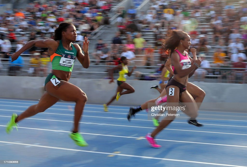 English Gardner (R) leads <a gi-track='captionPersonalityLinkClicked' href=/galleries/search?phrase=Lauryn+Williams&family=editorial&specificpeople=204367 ng-click='$event.stopPropagation()'>Lauryn Williams</a> (L) as they compete in the semi final Women's 100 Meter Dash on day two of the 2013 USA Outdoor Track & Field Championships at Drake Stadium on June 21, 2013 in Des Moines, Iowa.