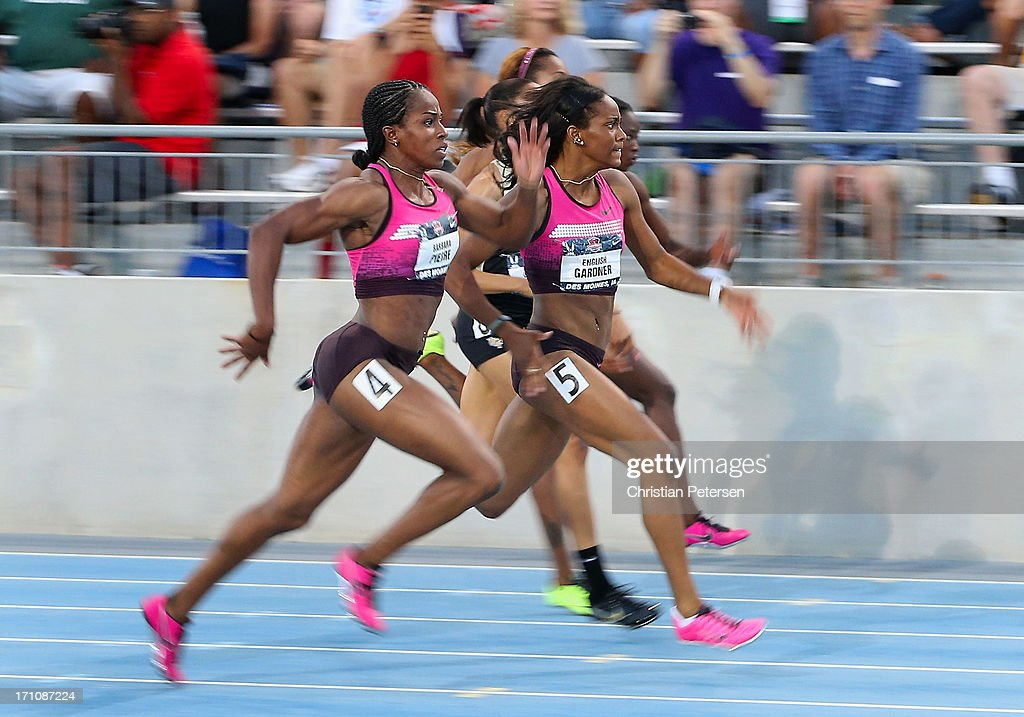 English Gardner(C) leads the pack en route to winning the Women's 100 Meter Dash final on day two of the 2013 USA Outdoor Track & Field Championships at Drake Stadium on June 21, 2013 in Des Moines, Iowa.
