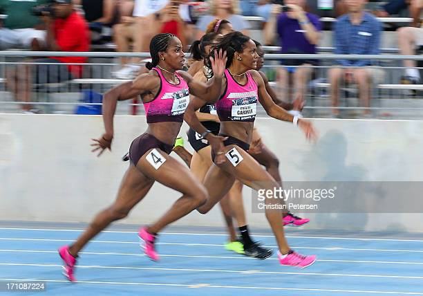 English Gardner leads the pack en route to winning the Women's 100 Meter Dash final on day two of the 2013 USA Outdoor Track Field Championships at...
