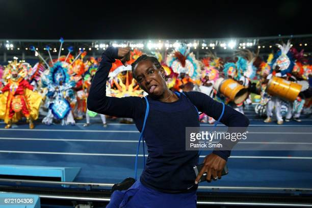 English Gardner of team USA celebrate with Junkanoo dancers after the IAAF/BTC World Relays Bahamas 2017 at Thomas Robinson Stadium on April 23 2017...