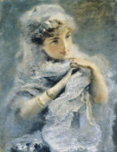 English girl by Daniele Ranzoni oil on canvas