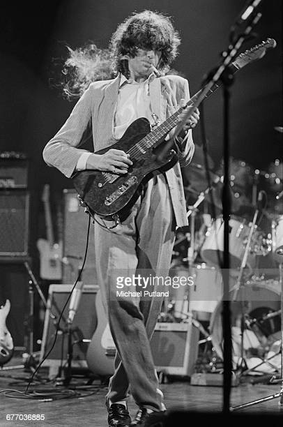 English giutarist Jimmy Page performing on stage at a charity concert for ARMS held at the Royal Albert Hall London 20th September 1983