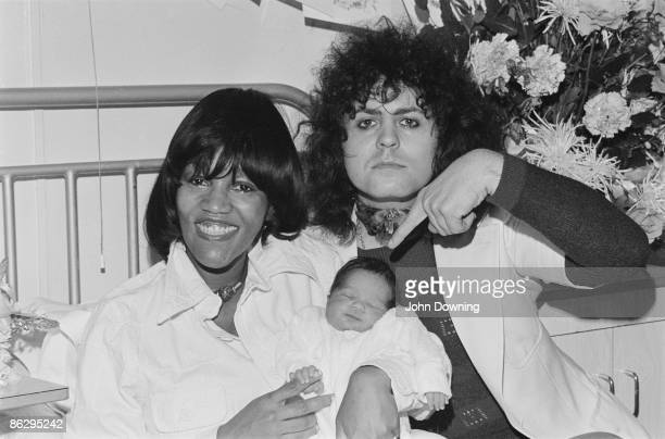 English glam rock star Marc Bolan with his girlfriend American singer Gloria Jones and their son Rolan Bolan 2nd October 1975