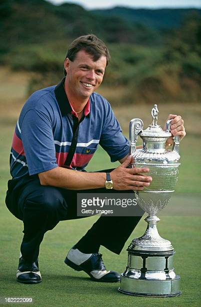 English golfer Gary Wolstenholme with his trophy at the 1991 British Amateur Championship at Ganton Golf Club North Yorkshire UK