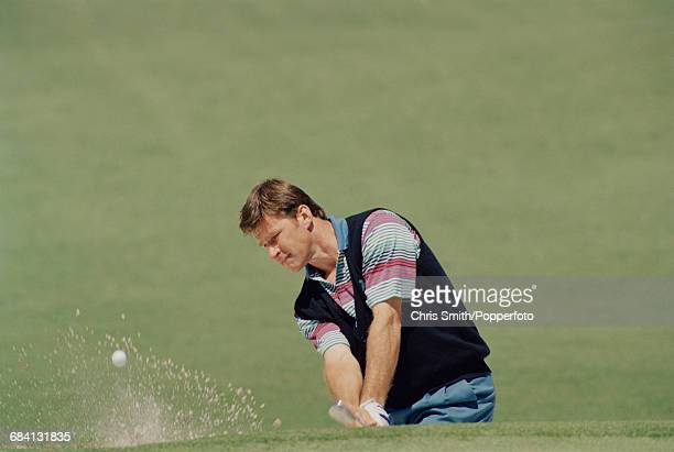 English golfer Nick Faldo pictured in action in competition to finish in 32nd place in the 1994 Masters golf tournament at Augusta National Golf Club...