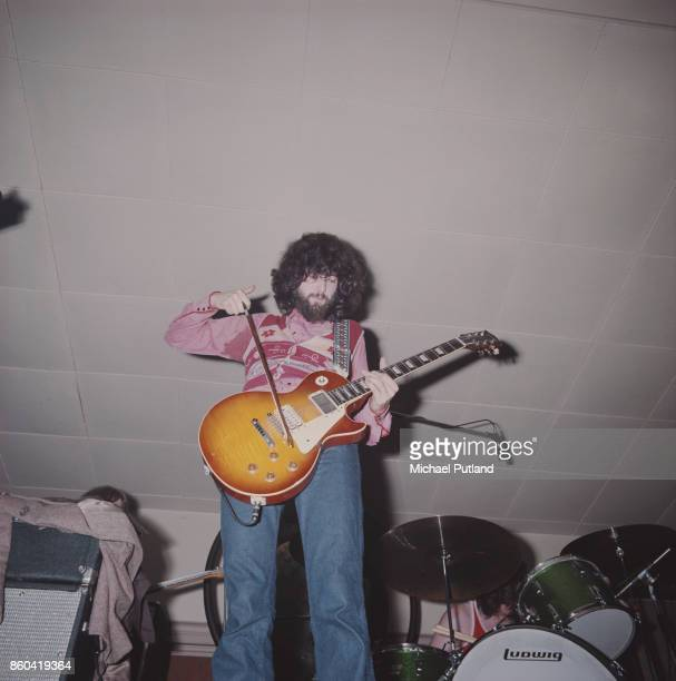 English guitarist and songwriter Jimmy Page of English rock group Led Zeppelin playing his Gibson Les Paul guitar with a violin bow UK 1969