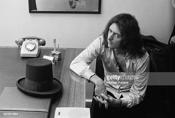 English guitarist and songwriter Ritchie Blackmore of rock group Deep Purple with his hat at the offices of publicist Les Perrin 5th July 1973