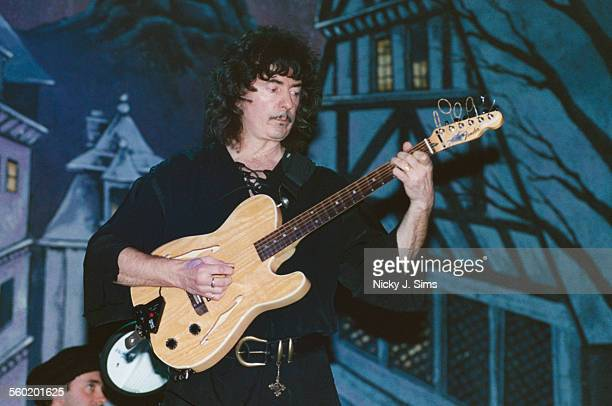 English guitarist and songwriter Ritchie Blackmore performing with folkrock group Blackmore's Night at the Cambridge Theatre London 25th May 2000