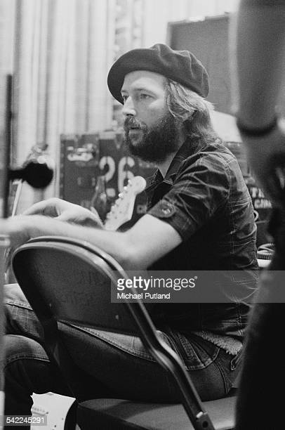 English guitarist Eric Clapton backstage during a US tour 1st July 1975