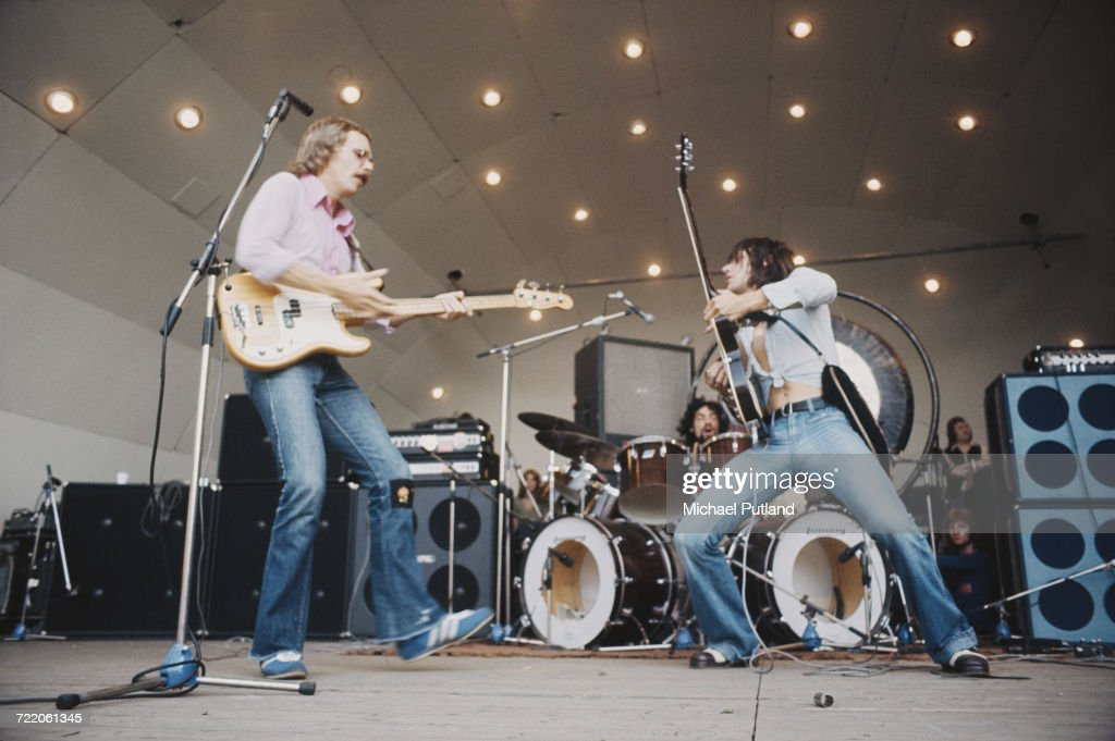 English guitarist Jeff Beck performing with hard rock supergroup Beck, Bogert & Appice at the Crystal Palace Garden Party festival at the Crystal Palace Bowl, London, 15th September 1973. Left to right: Tim Bogert, Carmine Appice (on drums) and Jeff Beck.
