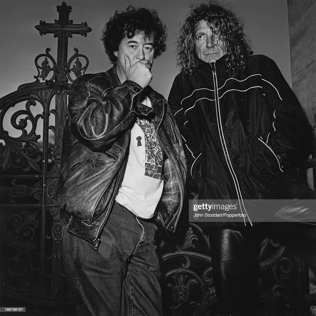 English guitarist Jimmy Page (left) and singer Robert Plant, formerly of rock band Led Zeppelin, 1998.