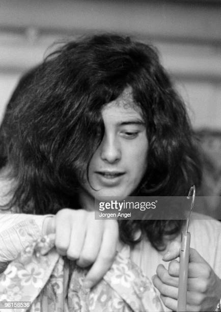 Jimmy Page of Led Zeppelin performs on stage at Gladsaxe Teen Club on March 17th 1969 in Copenhagen Denmark