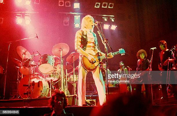 English guitarist Mick Ronson performing on a UK tour to promote his solo debut album 'Slaughter On 10th Avenue' 1974