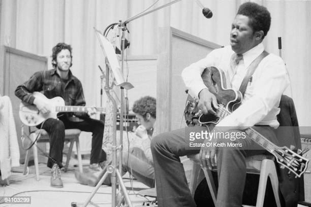 English guitarist Peter Green in a London recording studio with American blues singer and guitarist BB King June 1971 They are working the album 'BB...