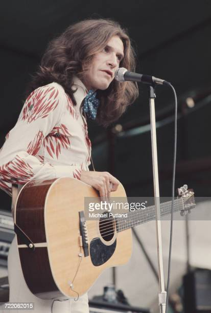 English guitarist Ray Davies of The Kinks performs live onstage with an acoustic guitar at the White City Festival at White City Stadium in London on...