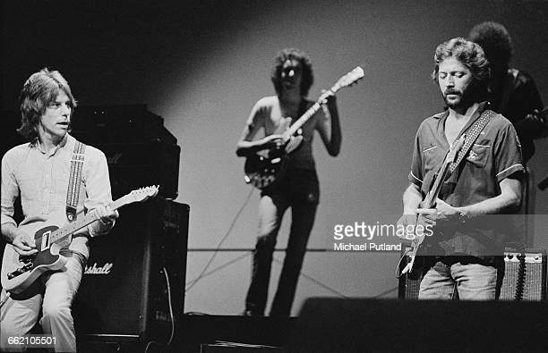 English guitarists Jeff Beck and Eric Clapton performing in 'The Secret Policeman's Other Ball' at the Drury Lane theatre London 9th September 1981...