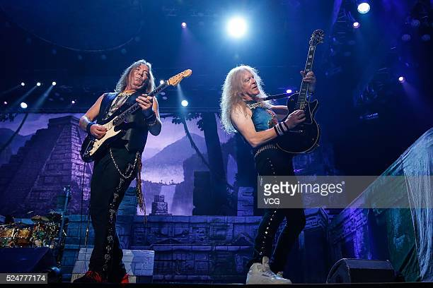 English heavy metal band Iron Maiden perform onstage during The Book of Souls World Tour Shanghai concert on April 26 2016 in Shanghai China