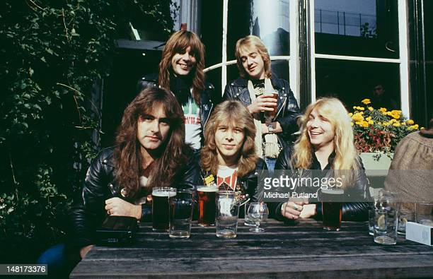 English heavy metal group Iron Maiden outside the Island Queen pub in Islington London 1982 Back row left to right singer Bruce Dickinson and...