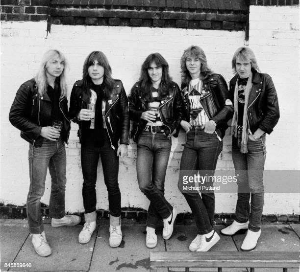English heavy metal group Iron Maiden outside the Island Queen pub in Islington London 1982 Left to right guitarist Dave Murray singer Bruce...