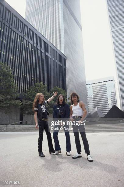 English heavy metal group Motorhead in World Trade Center Plaza New York 1981 Left to right bassist and singer Lemmy guitarist 'Fast' Eddie Clarke...
