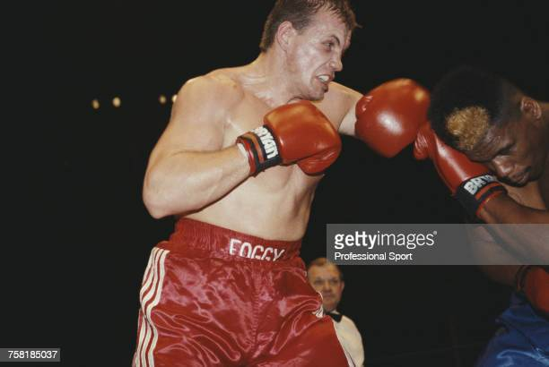 English heavyweight boxer Adam Fogerty pictured in action to defeat American boxer Tracy Thomas by a TKO at the Royal Albert Hall in London on 8th...