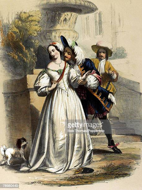 circa 1666 This illustration shows King Charles II making an advance to one of the ladies at court King Charles II was married to Catherine of...