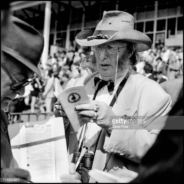 English horse racing pundit John McCririck at Lingfield Park Racecourse in Surrey 5th September 1994