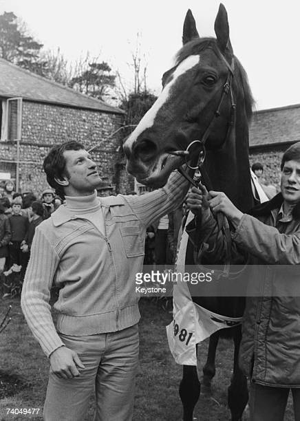 English Jockey Bob Champion with his horse Aldaniti after they won the 1981 Grand National despite Champion's being diagnosed with cancer 6th April...