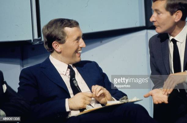 1968 English journalist and broadcaster David Frost interviews actor Kenneth Williams on the David Frost Programme television show in 1968