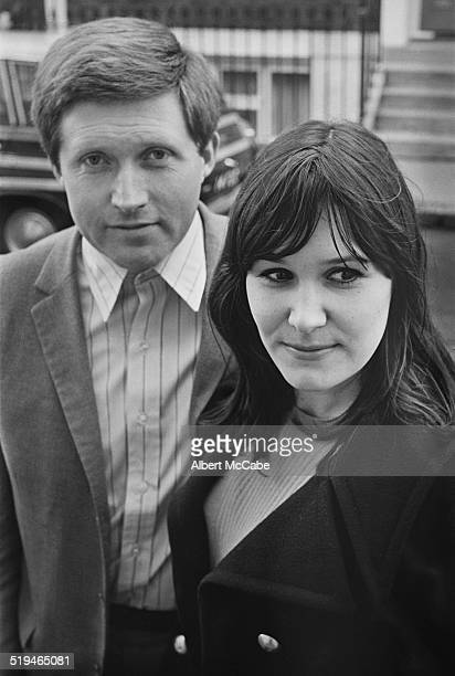 English journalist and TV presenter David Dimbleby with his fiance food writer Josceline Gaskell 20th January 1967