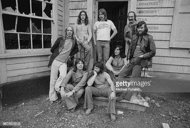 English keyboard player and composer Rick Wakeman with his group The English Rock Ensemble 22nd September 1975 Drummer Tony Fernandez is seated third...