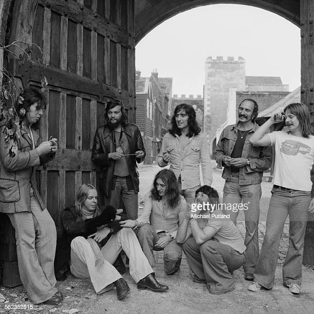English keyboard player and composer Rick Wakeman with his group The English Rock Ensemble 22nd September 1975 Drummer Tony Fernandez is standing...