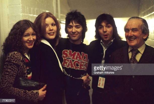 English keyboard player Ian McLagan and Scottish guitarist Jimmy McCulloch formerly of Wings backstage during a club tour to promote the Small Faces...
